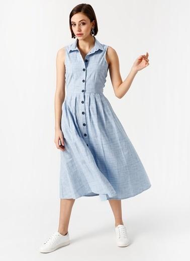 Fabrika Kolsuz Önden Düğmeli Midi Elbise Mavi
